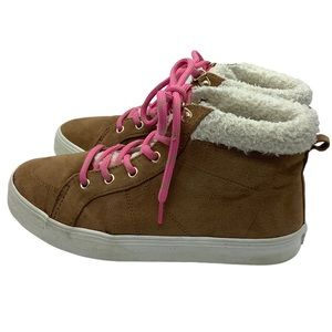Old Navy Shoes High Top Sherpa Suede Chestnut Sz 5
